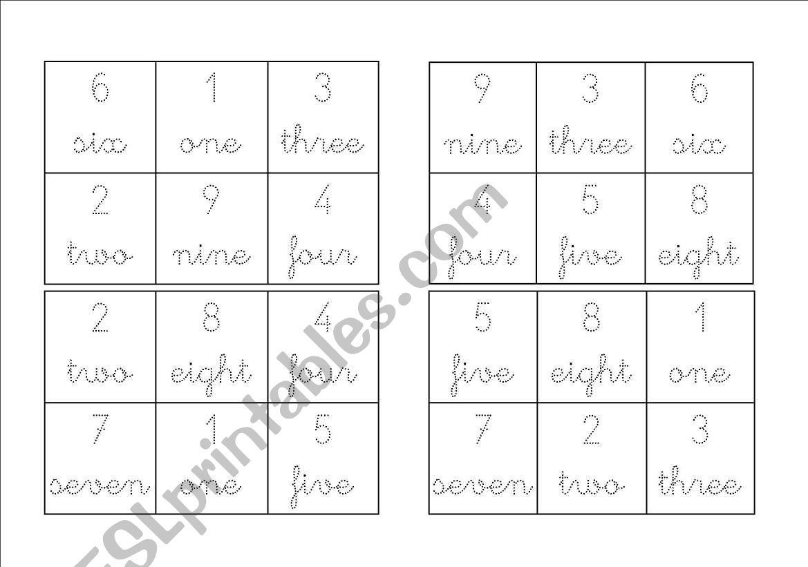 English Worksheets Bingo Cards Numbers 1 9