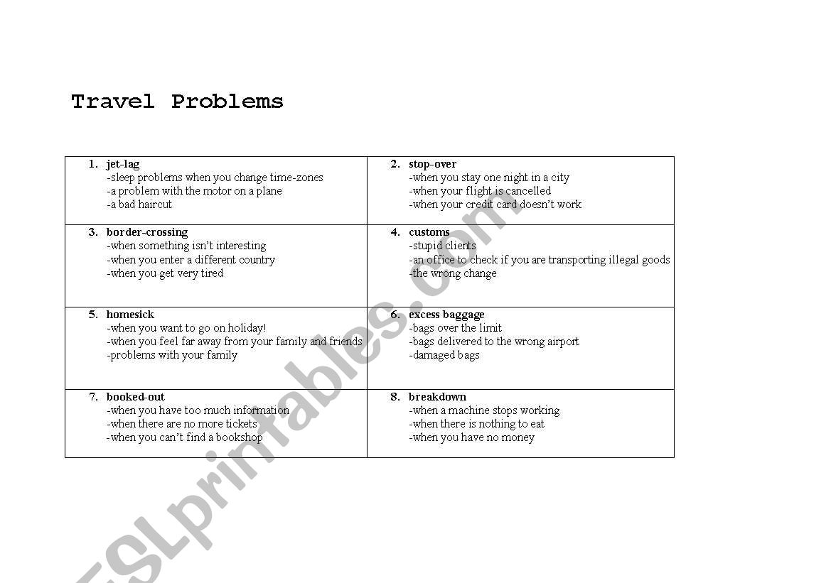 English Worksheets Travel Problems Definitions Quiz