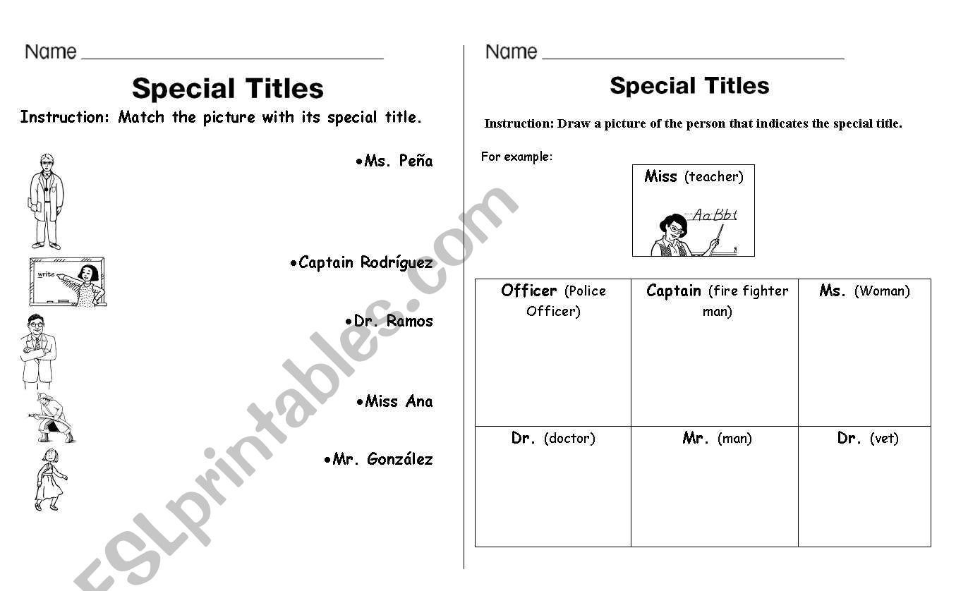 English Worksheets Special Titles