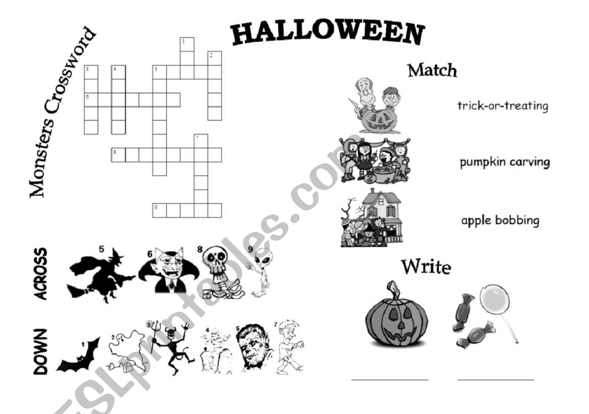 Halloween Vocabulary Sheet