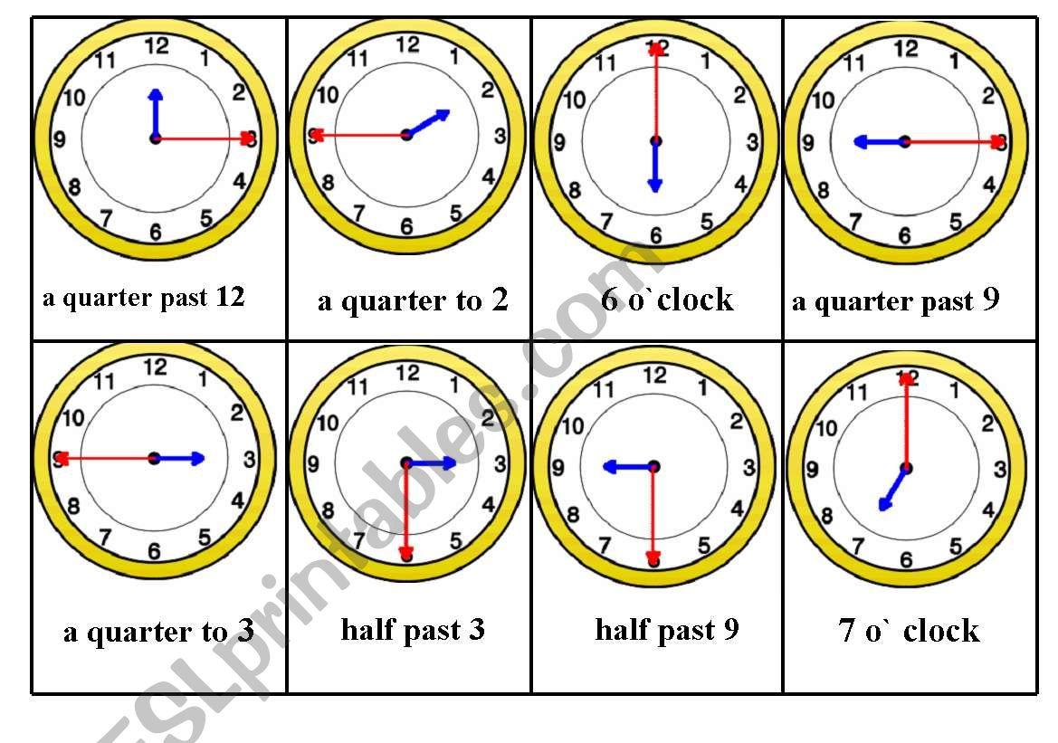 Telling Time Bingo Game Card Nr 2 6