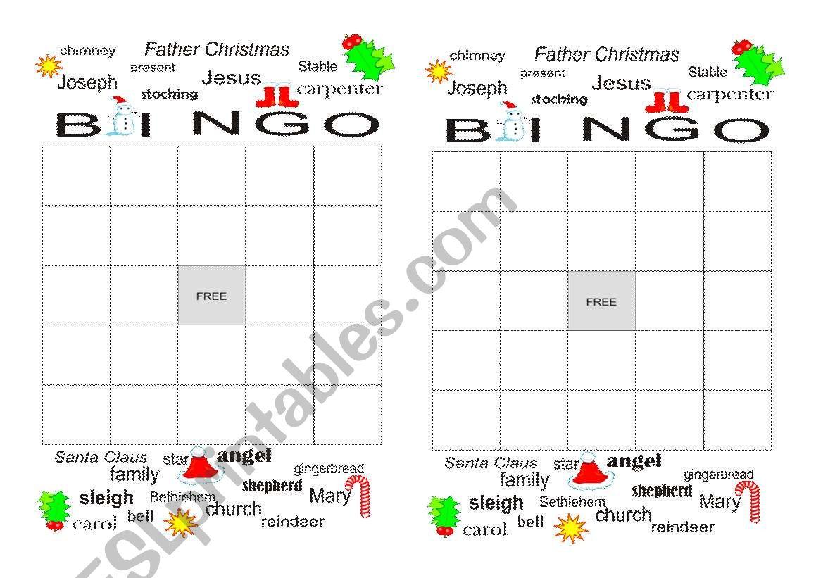 English Worksheets Christmas Bingo