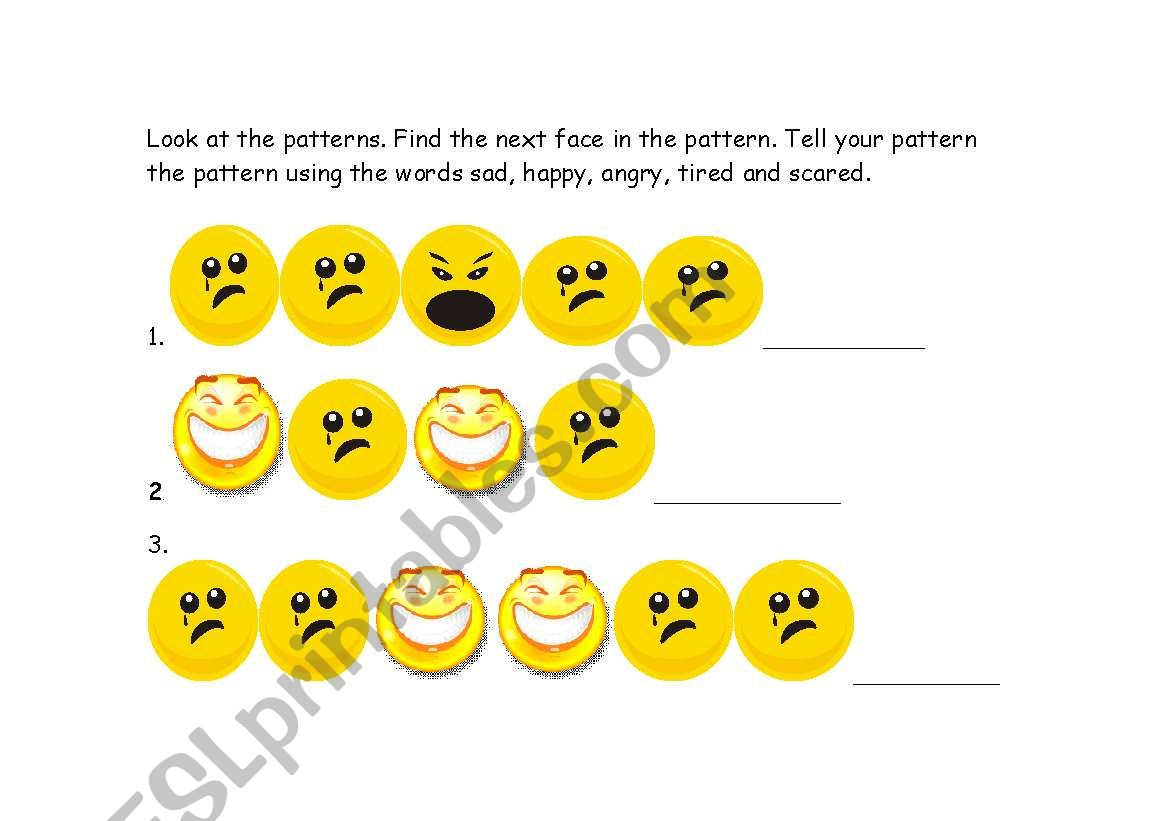 English Worksheets Emotions Pattern Activity Kindergarten