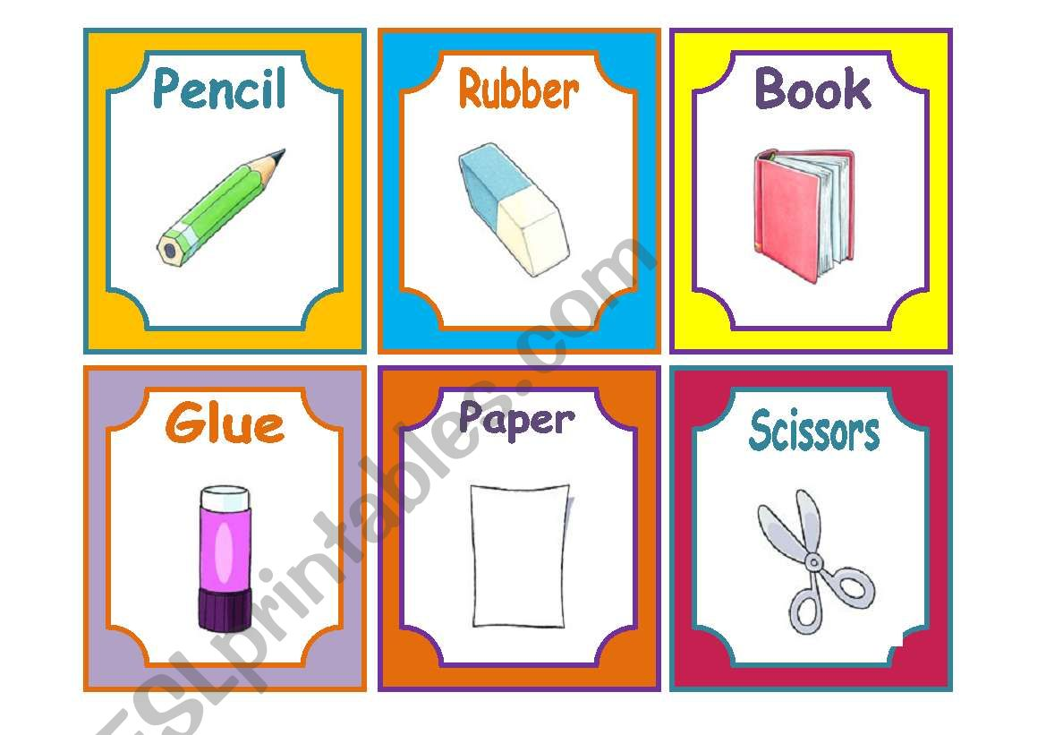 School Materials Flashcards
