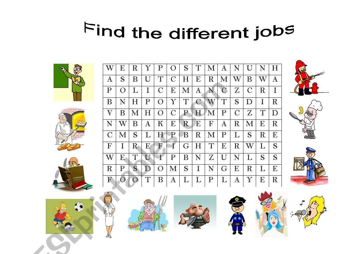 English Worksheets Find The Different Jobs