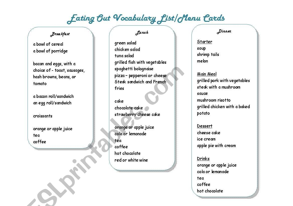 Breakfast Lunch And Dinner Menu Cards