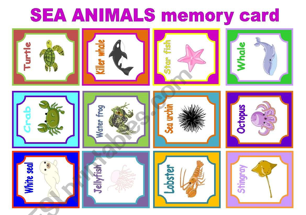 Sea Animals Memory Card Game