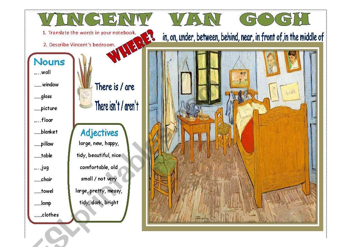 English Worksheets Writing Vincent Van Gogh S Bedroom