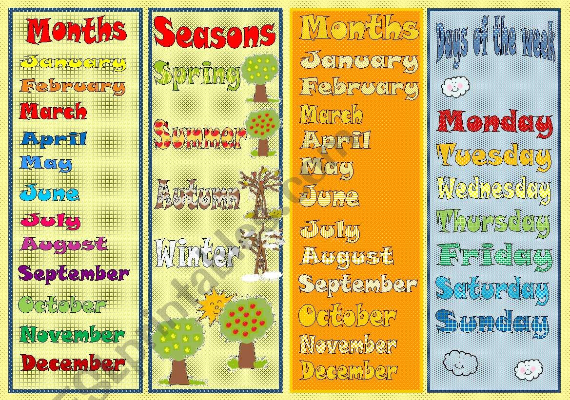 Bookmarks Days Of The Week Months Seasons Exercises