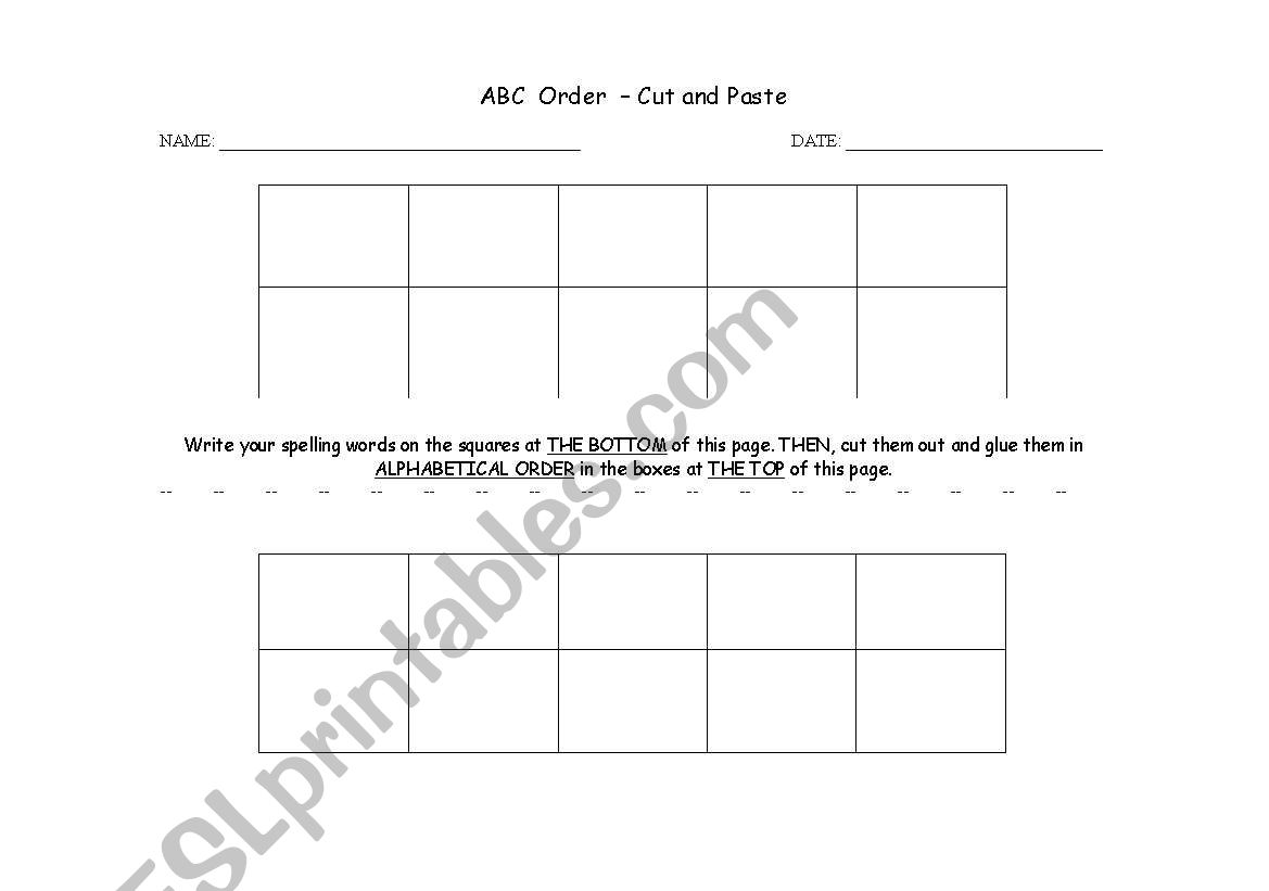 English Worksheets Abc Order