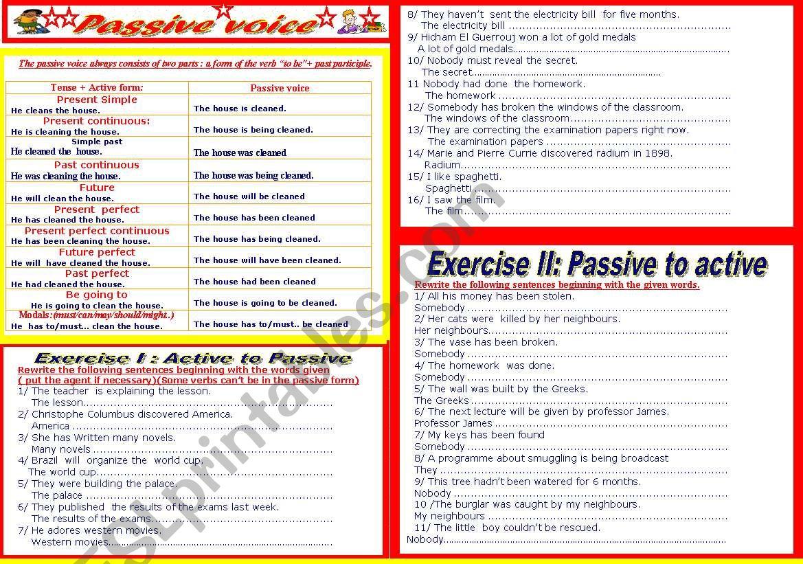 26 Active Voice Vs Passive Voice Worksheet