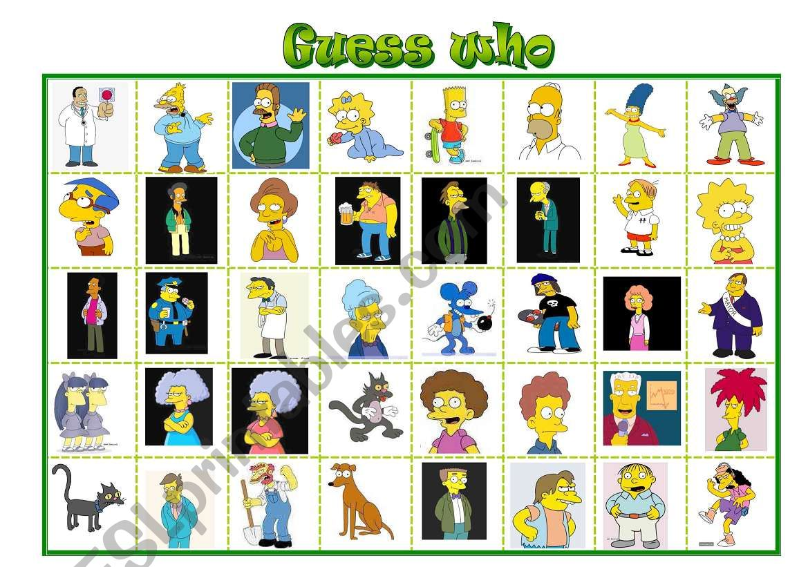 Simpsons Guess Who Board Game