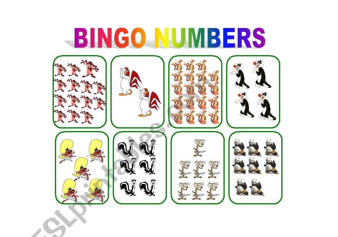 English Worksheets Bingo Numbers