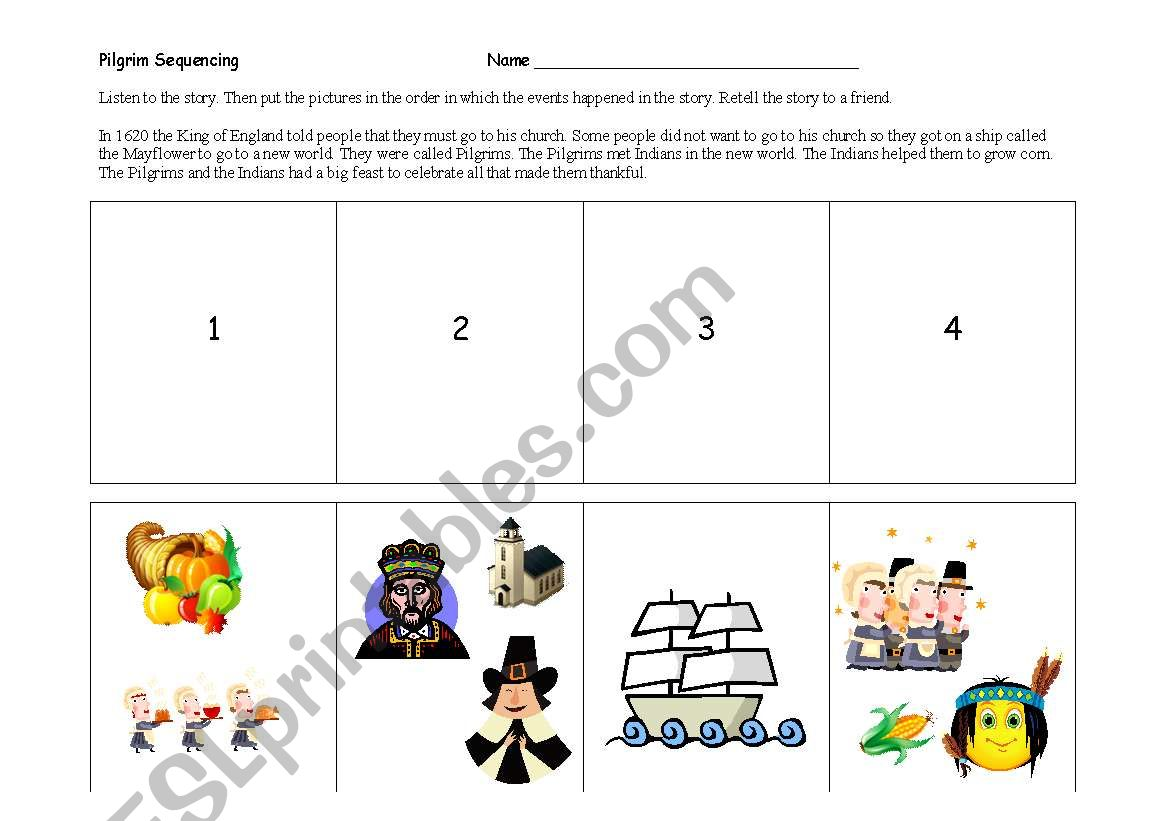 English Worksheets Pilgrim Sequencing