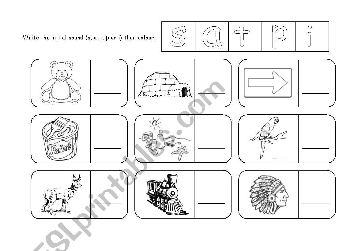 English Worksheets S A T P I Initial Sound