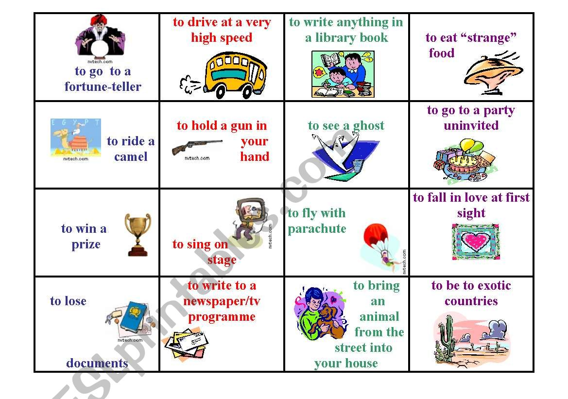 Speaking Cards Present Perfect Life Ex