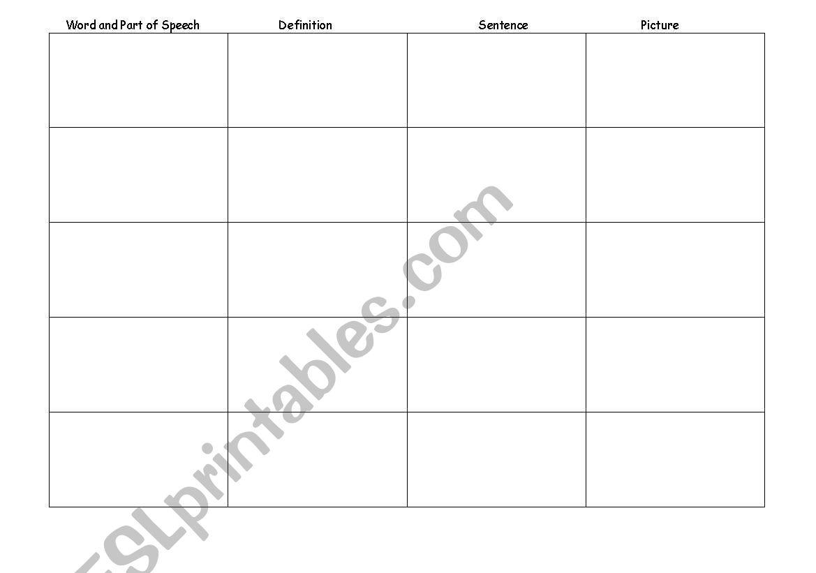 English Worksheets Vocabulary Chart