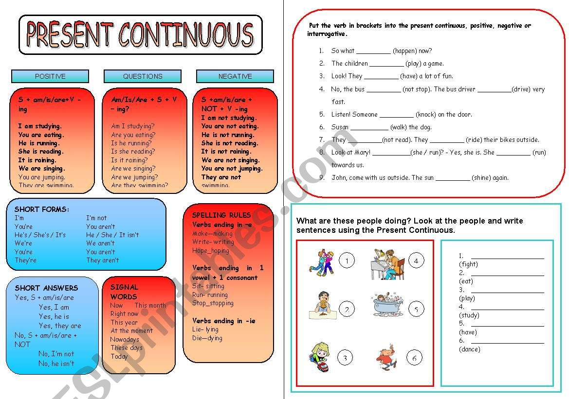 Present Continuous Grammar Guide And Two Activities