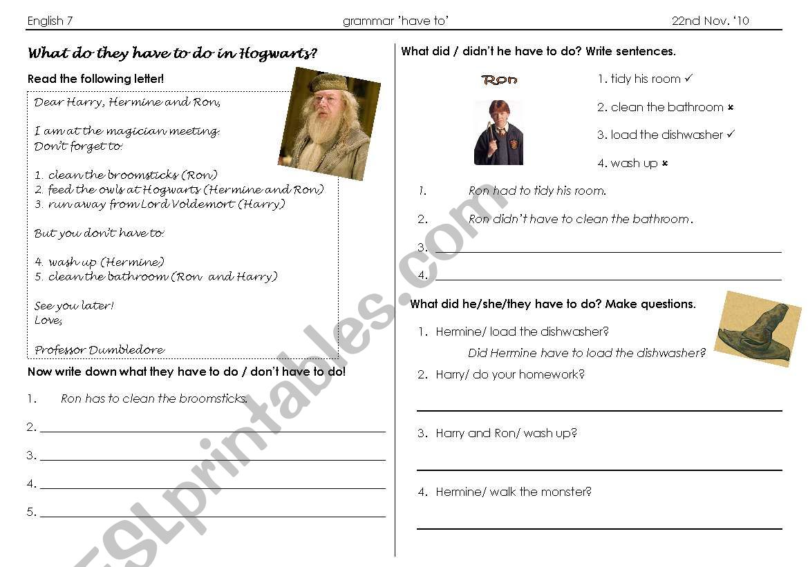 Worksheet Grammar Have To Had To With Topic Harry