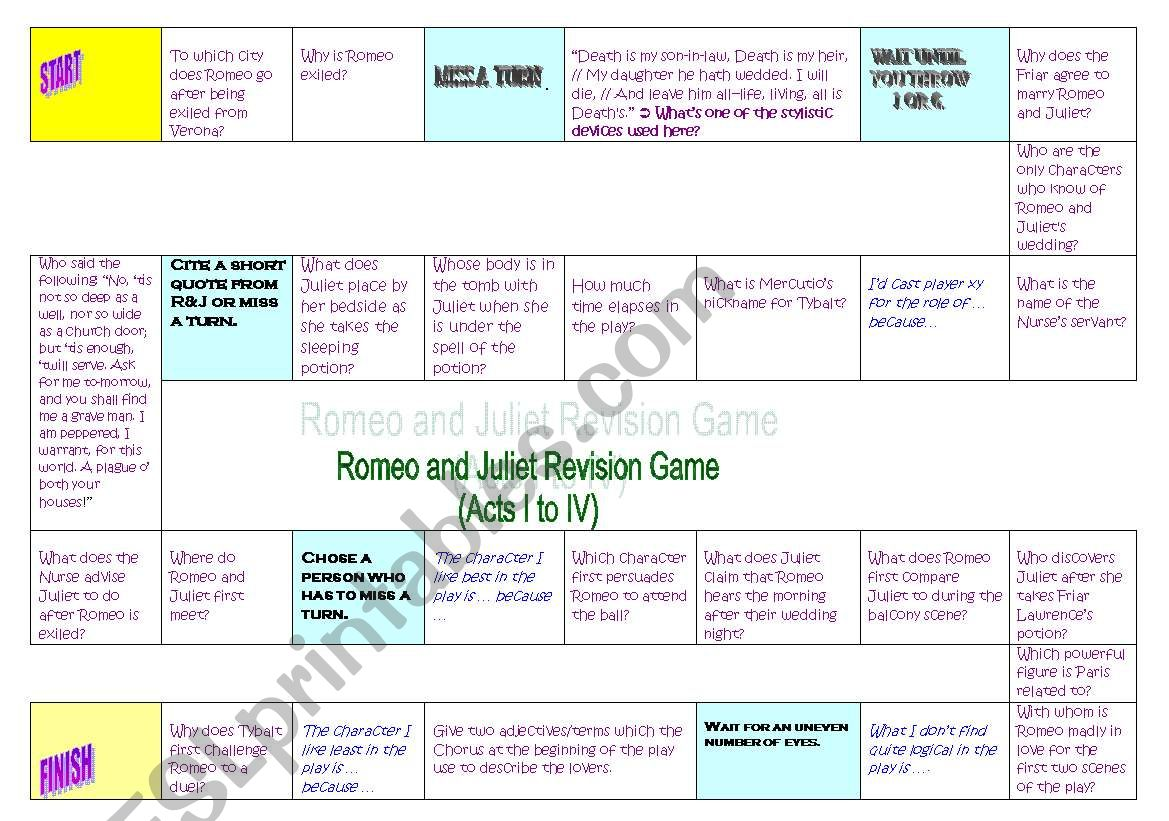Shakespeare Romeo Amp Juliet Revision Boardgame Acts 1 To 4