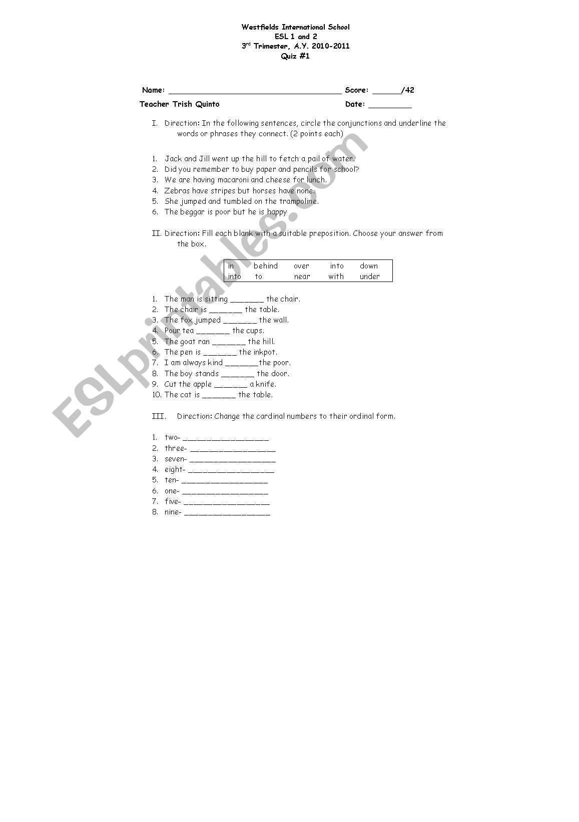 English Worksheets Conjunctions And Preposition