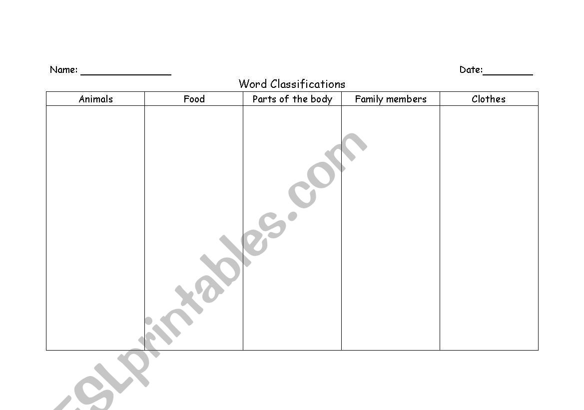 English Worksheets Word Classification