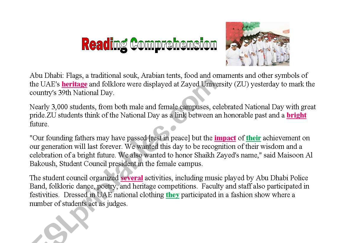 Reading Comprehension About Uae