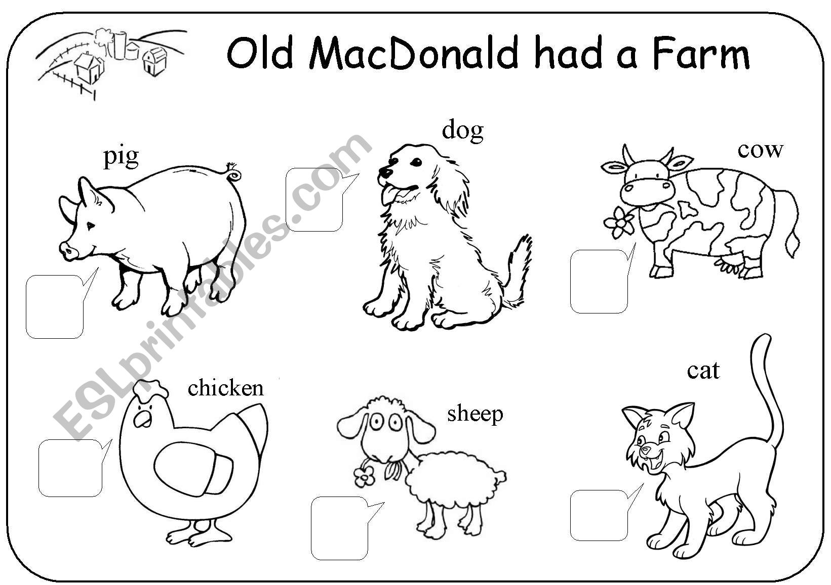 Old Macdonald Had A Farm Worksheet For Preschoolers