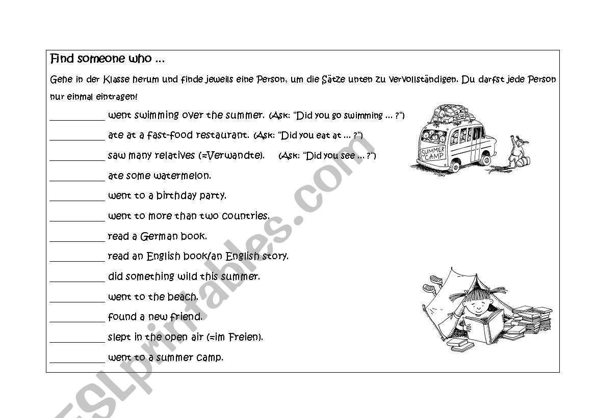 English Worksheets Find Someone Who Summer Holidays