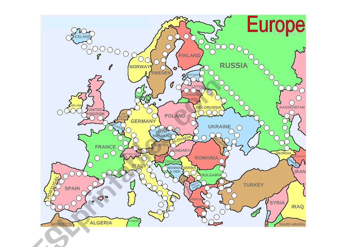 Countries Of Europe Reward Point Sheet Board Game