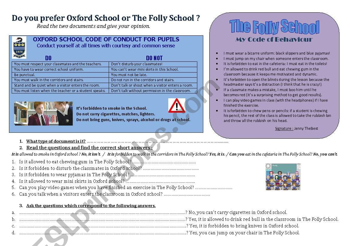 Funny School Rules