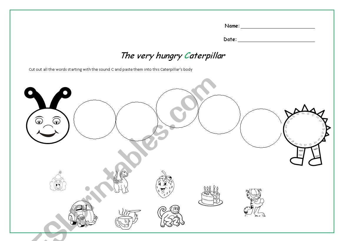 English Worksheets The Very Hungry Caterpillar