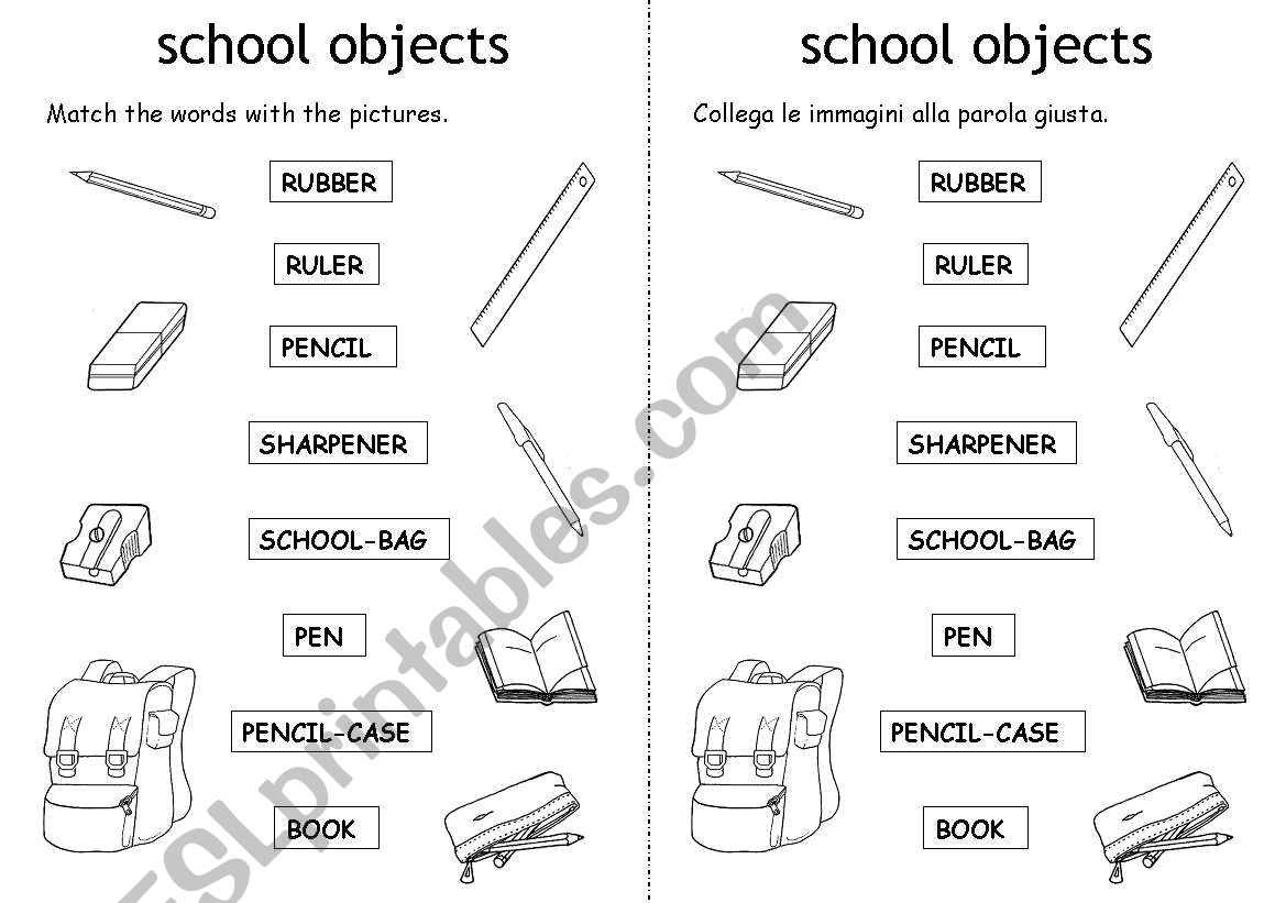 School Objects Matching Worksheet