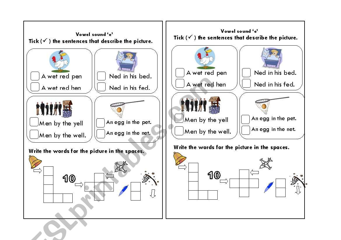Phonics Vowel Sound E