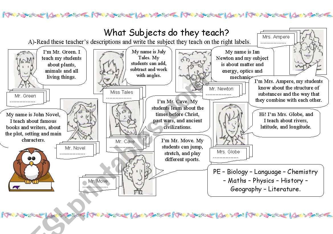 Teachers And School Subjects
