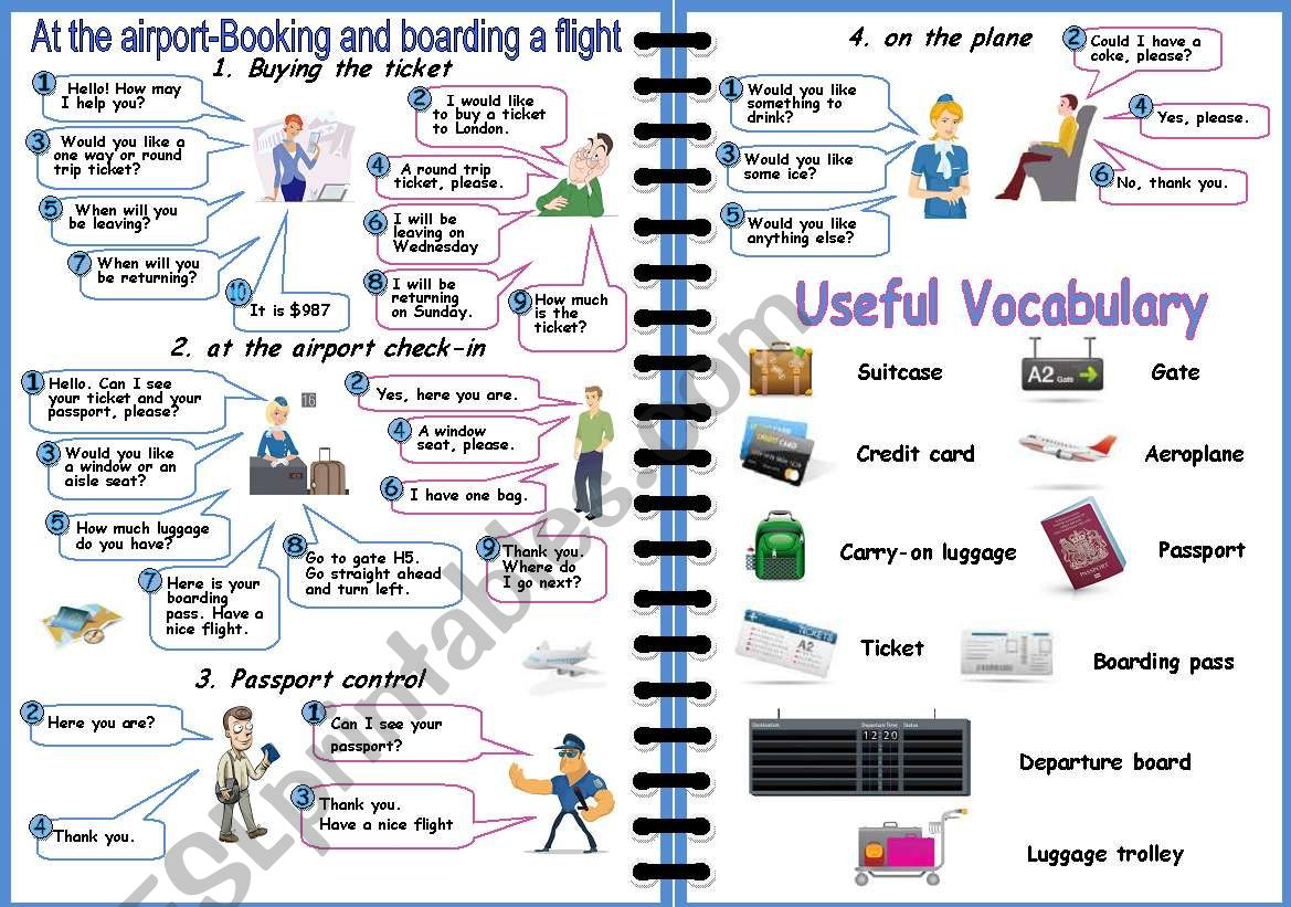 Airport How To Book And Board A Flight 2 Pages