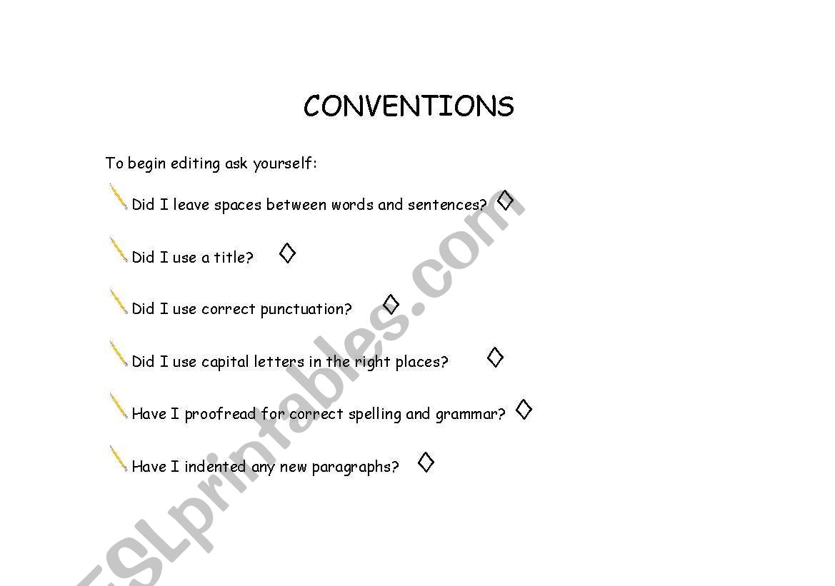 English Worksheets Conventions Checklist