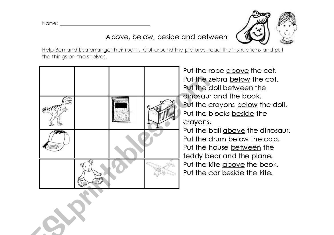 English Worksheets Above Below Besides Between
