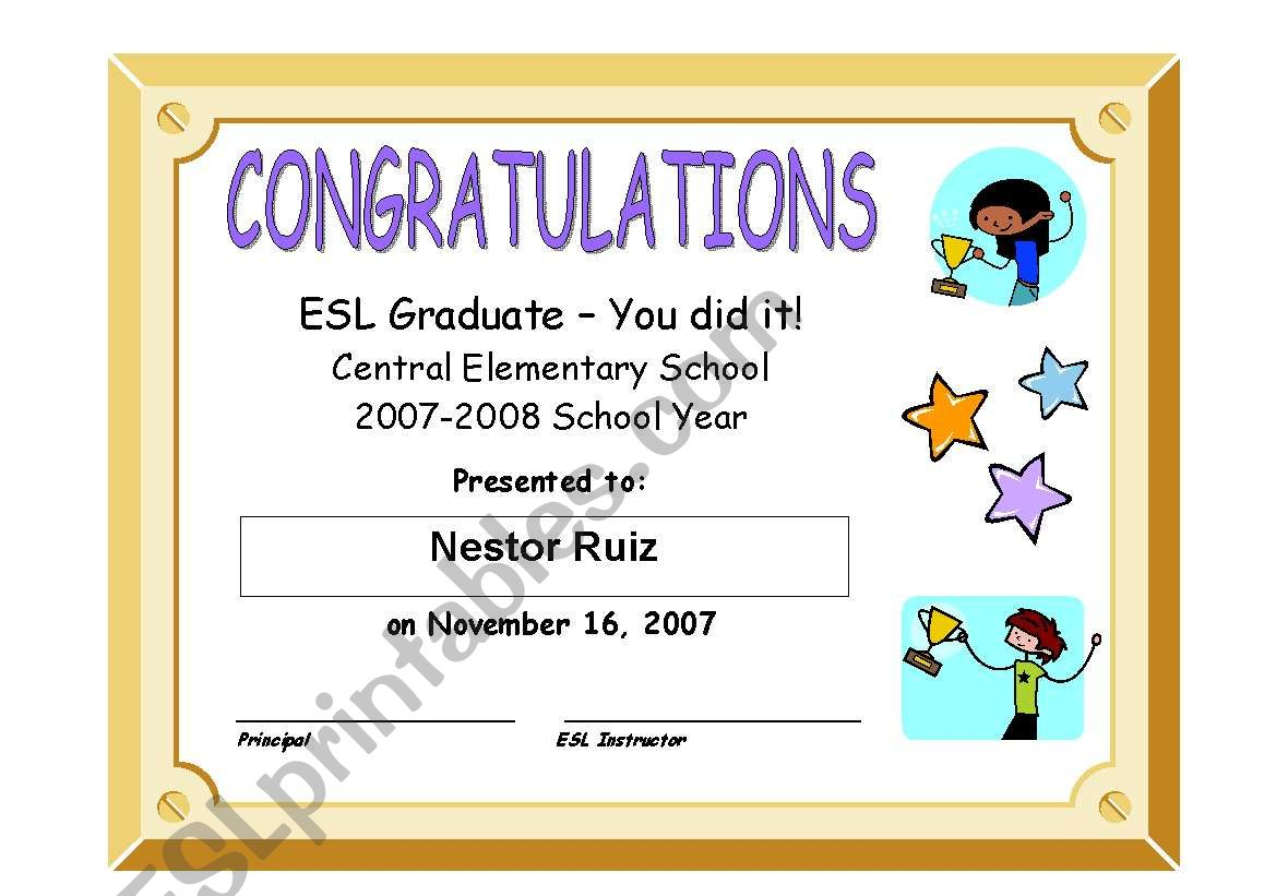 Esl Graduation Certificate