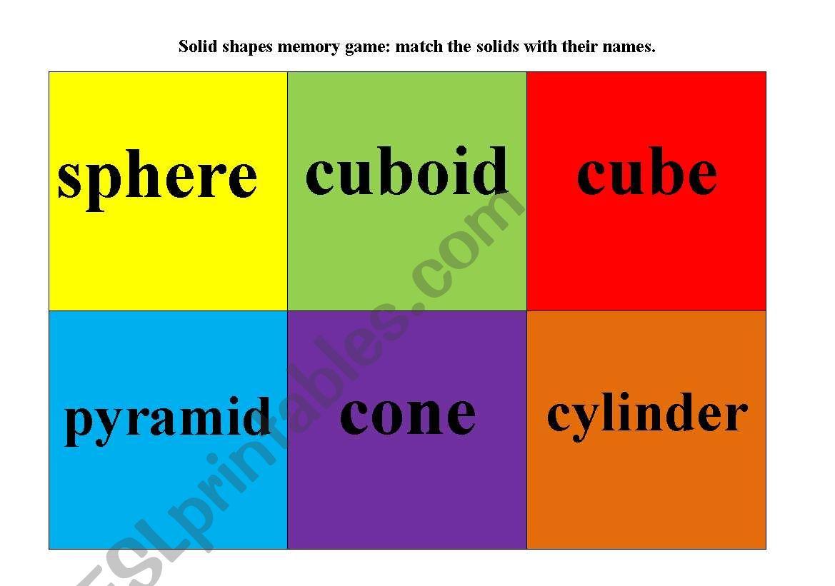 English Worksheets 3d Shapes Memory Game