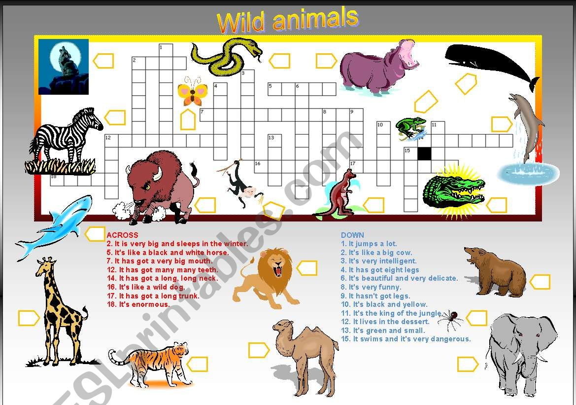 20 Animal Names Criss Cross Puzzle With Key