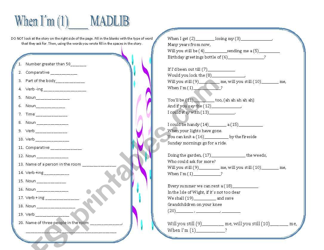 English Worksheets Mad Libs