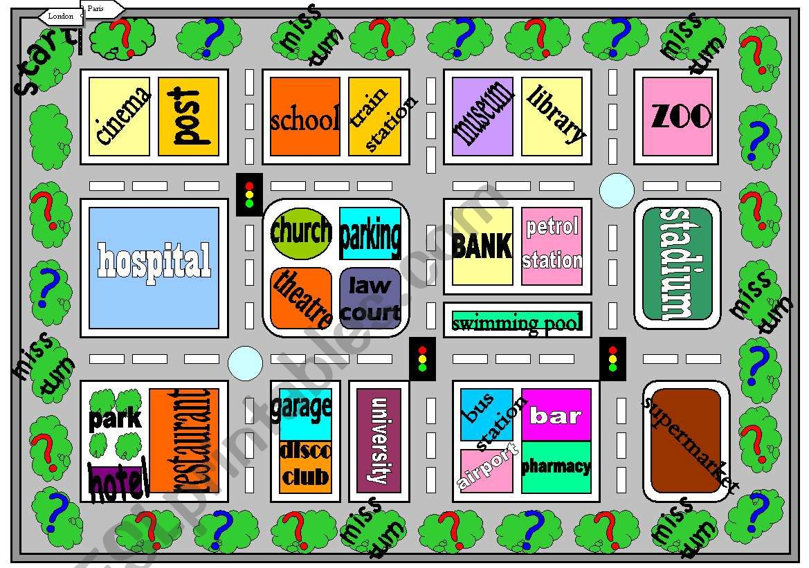 Places In Town And Place Preposition Board Game Part 1