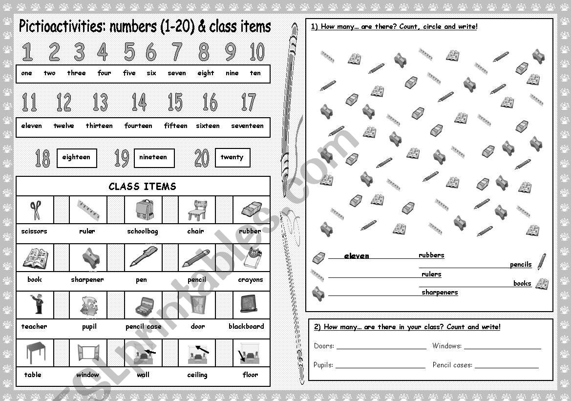 Pictioactivities How Many Numbers 1 20 Class
