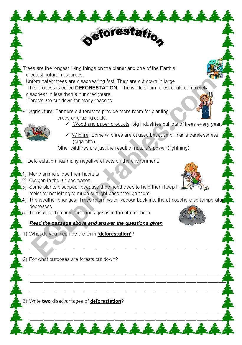 English Worksheets Deforestation