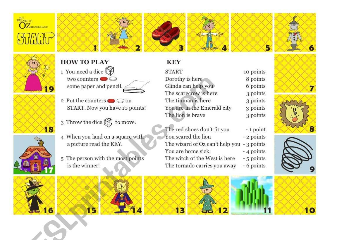 The Wizard Of Oz Board Game