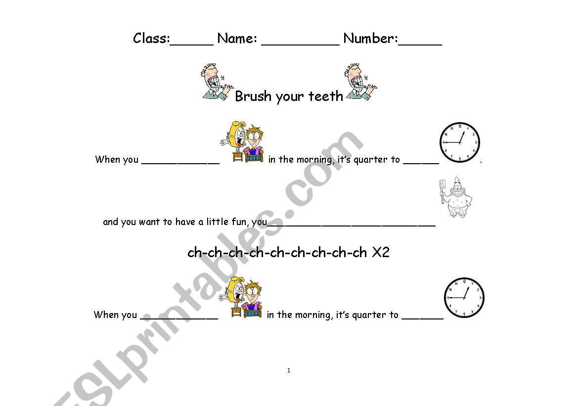 English Worksheets Brush Your Teeth