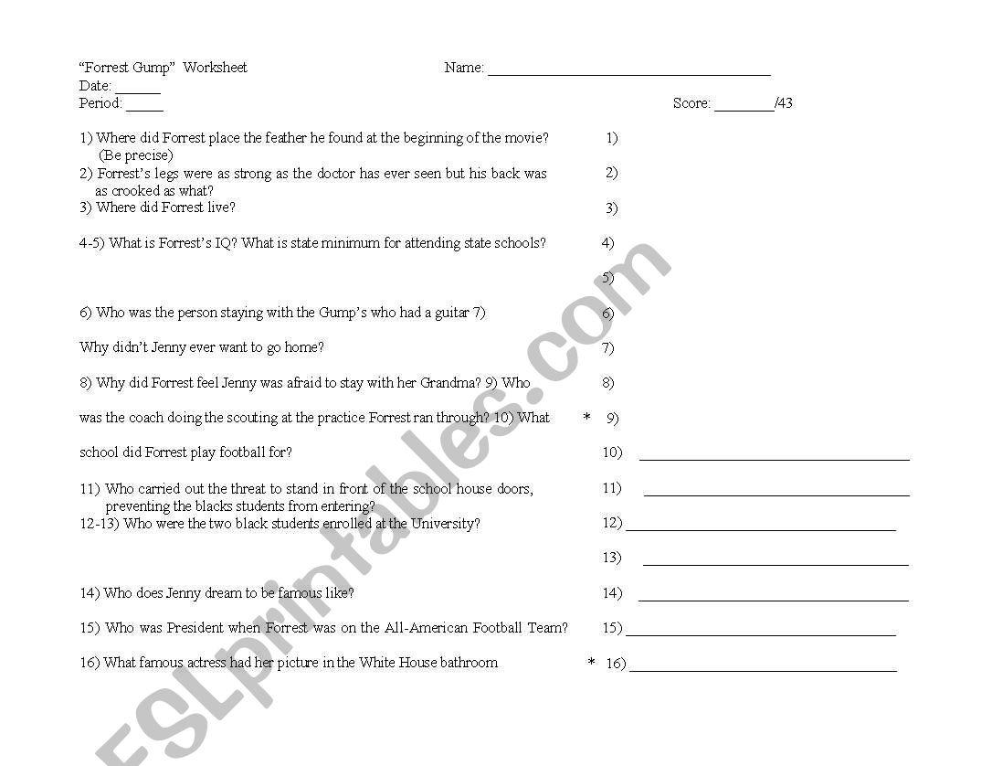 Forest Gump Worksheet