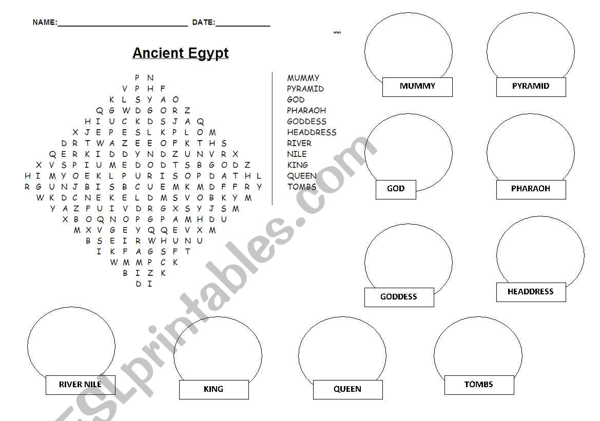 English Worksheets Ancient Egypt