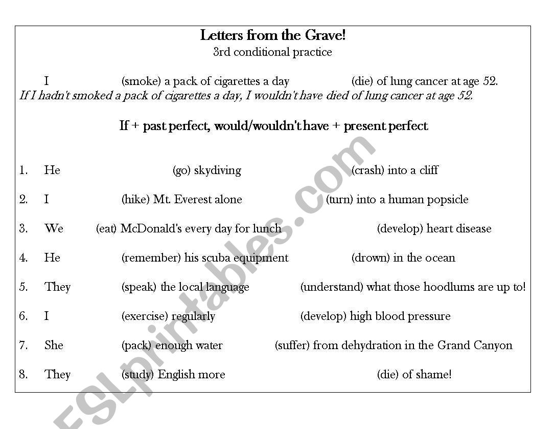 3rd Conditional Practice Letters From The Grave
